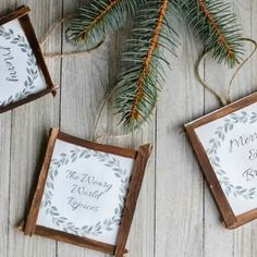 """Rustic Christmas Ornament - this includes a free printable of """"merry & bright"""" and """"the weary world rejoices"""" Christmas wreaths. Frame it with some rustic broken popsicle sticks for an easy rustic Christmas ornament idea! Printable Christmas Ornaments, Farmhouse Christmas Ornaments, Free Christmas Printables, Christmas Tree Ornaments, Free Printables, Christmas Crafts, Christmas Decorations, Christmas Wreaths, Country Christmas"""