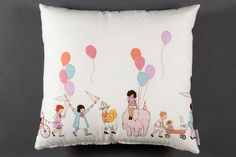 Pillow with children and balloon pattern cream by MadameCoussins, €49.00