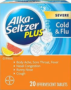 Alka-Seltzer Plus Severe Cold & Flu, Citrus Effervescent Tablet, White Cold Medicine, Cold Symptoms, Nasal Congestion, Runny Nose, Medical Help, Liver Disease, Over Dose, Alka Seltzer Cold And Flu, Walmart
