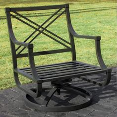 Awesome Black Metal Outdoor Patio Chair With Decorative X Ornament Back With Patio Furniture Swivel Rocker Also Ideas