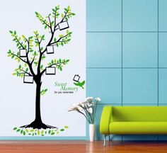 1 set Wall Sticker Photo Frame Tree Art Photo Tree Removable Vinyl Stickers Wall Mural Home Decor Wall Stickers Uk, Wallpaper Stickers, Wall Decal Sticker, Wall Wallpaper, Pvc Wall, Green Photo, Removable Wall Decals, Decoration, Diy Art