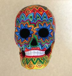 Handpainted Papermache Skull by HummingbirdTails on Etsy