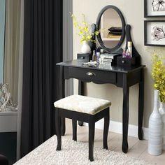 SEN211 Set masă de toaletă pentru dormitor - http://www.emobili.ro/cumpara/sen211-set-masa-neagra-toaleta-cosmetica-machiaj-oglinda-masuta-vanity-777 #eMobili