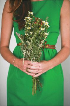 green bridesmaid dress and wild flowers- perfect!