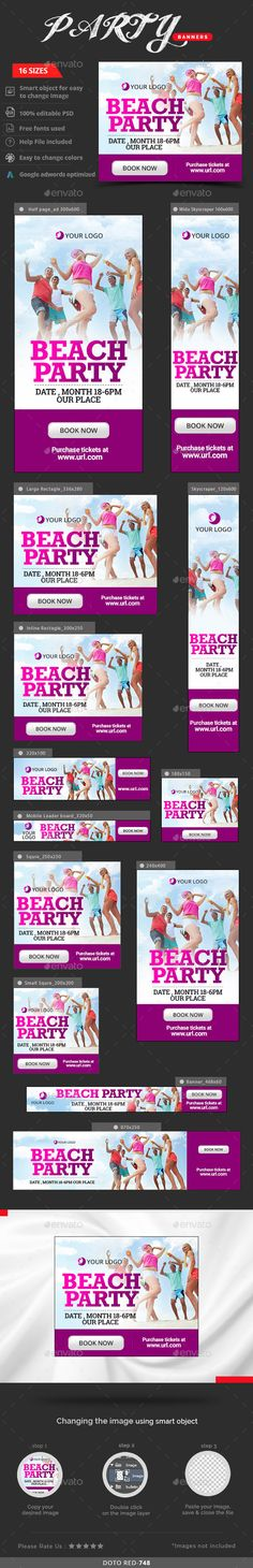 Party Web Banners Template PSD #design #ads Download: http://graphicriver.net/item/party-banners/13240530?ref=ksioks