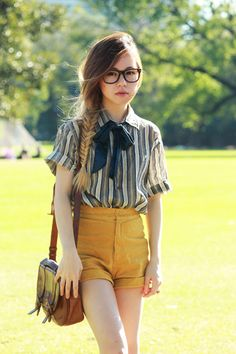 mustard shorts and navy stripes on chloe t.