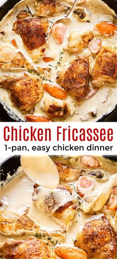 Chicken Fricassee Recipe Chicken Fricassee is a classic French dish with tender chicken braised in a creamy white wine sauce. Easy and excellent Chicken Fricassee recipe! French Recipes Dinner, French Chicken Recipes, Italian Recipes, Dinner Recipes, French Chicken Dishes, French Food Recipes, Chicken Tender Recipes, French Desserts, German Recipes