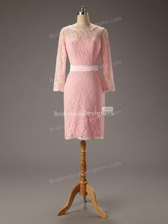 39a4b5925e66 Pink Lace Illusion Neck Long Sleeve Short Sheath Fashion Bridesmaid Dress  with high quality and best service are on sale