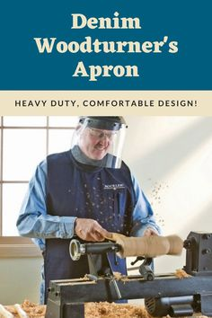 Keep your clothes free of shavings with our Denim Woodturner's Apron! A shop accessory to help you create with confidence.   #createwithconfidence #rockler #woodturners #shopapron #turning