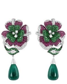 18KT Gold Diamond Ruby Tsavorite Earrings : Lot 155