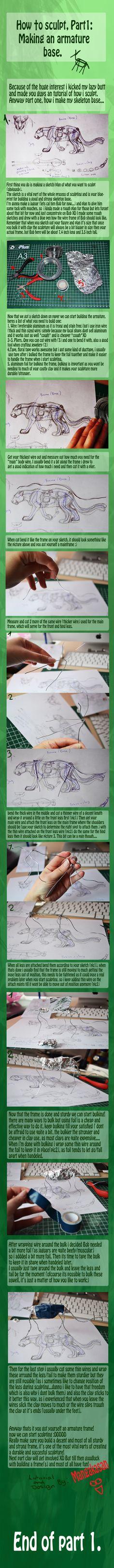 como esculpir un tige, estructura interna de alambre Making a wire amature
