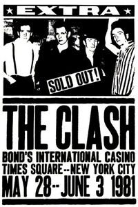 The Clash - Bond's International Casino - New York - 1981 - Concert Poster Tour Posters, Band Posters, Vintage Concert Posters, Vintage Posters, Retro Posters, Music Background, Le Choc, Times Square New York, Music Flyer