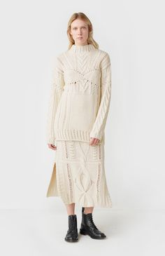 Bodice Detail Cable Knit Jumper In Off White