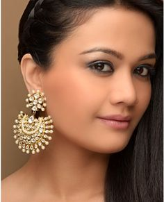 Faux Kundan and Pearl Embellished Crescent Shaped Earrings