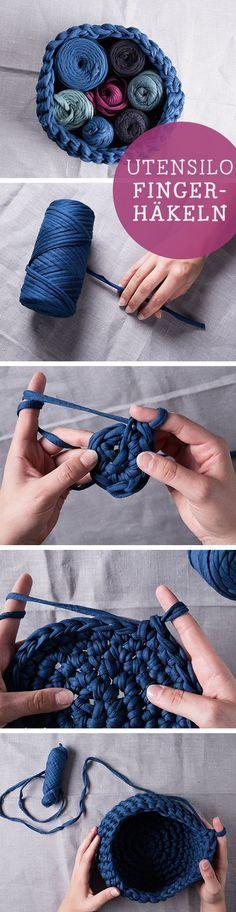 DIY-Anleitung: Utensilo fingerhäkeln, Textilgarn / diy tutorial: how to crochet…