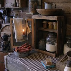 So primitive! Sweet Liberty Homestead cupboard.