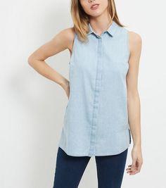Blue Sleeveless Denim Shirt  | New Look