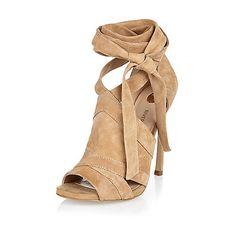 Beige suede tie up shoe boots - heeled sandals - shoes / boots - women