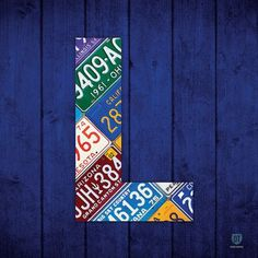 "East Urban Home Recycled License Plate Letters of the Alphabet Series: L Textual Art on Wrapped Canvas Size: 26"" H x 26"" W x 1.5"" D"