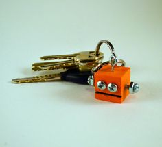 Orange Robot Key Chain Functional Art by DeviceZero on Etsy