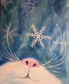 Snowflake Kitten at American Grille - Paint Nite Events near East Aurora, NY> Snowflake Kitten at American Grille - Paint Nite Events near East Aurora, NY> Easy Canvas Painting, Winter Painting, Winter Art, Painting & Drawing, Christmas Paintings On Canvas, Christmas Art, Simple Christmas, Christmas Nails, Cat Art