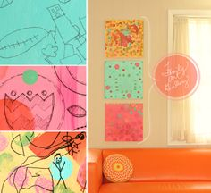 samen met kinderen maken,  1 - een kleur verven  2 - geo vormen erop verven  3 - met pen tekening maken  4 - randen/zijkanten met tape versieren  17 sep 2012 als zoekopdracht : family art gallery