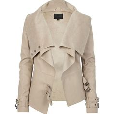 River Island Beige leather look waterfall jacket ($57) ❤ liked on Polyvore featuring outerwear, jackets, coats, tops, coats & jackets, fake leather jacket, faux leather jacket, beige faux leather jacket, river island jacket and buckle jackets