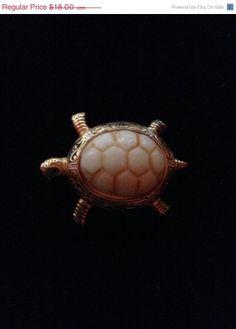 ON SALE Vintage turtle brooch turtle pin .Free by Mamaphias, $13.50