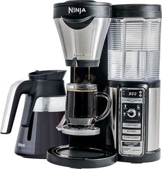 Ninja - Coffee Bar Brewer with Glass Carafe - Stainless Steel/Black (Silver/Black), CF081