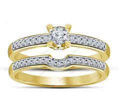 Prong & Fishtail Setting 0.38 CT D/VVS1 Diamond New Style Round Bridal Ring Set  #aonejewels