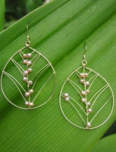 """Barbara"" - Pink freshwater pearls hand-woven into wire leaves by Noelani in…"