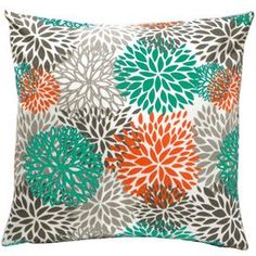 Vibrant indoor/outdoor pillows with a multicolored floral motif.    Product: Set of 2 pillowsConstruction Material: FabricColor: Teal, orange and grayFeatures:  Removable cover with zippered closureReversible to same patternSuitable for indoor and outdoor use Insert included Dimensions: 18 x 18 each Cleaning and Care: Machine wash on cold, gentle cycle. Lay flat to dry.