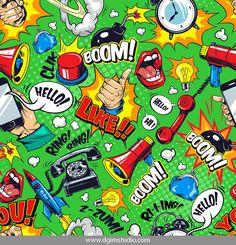 Colorful comic bright seamless pattern with speech bubbles Boom Ring Hello Like wordings megaphone open mouth telephone flying rocket bomb alarm clock vector illustration Illustration , Typography Logo, Art Logo, Create Your Own Comic, Comic Bubble, Comic Text, Pop Art Fashion, Design Comics, Monochrome Pattern, Pop Art Design