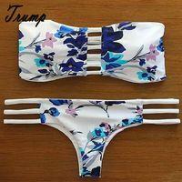 Playa del estilo del verano ropa 2015 Triangl Bikinis mujer neopreno empuje hacia arriba impresión trajes De baño brasileño Maillot De Bain De baño