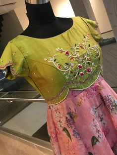 Beautiful blush pink and olive green color combination floor length dress with floret lata design hand embroidery work on yoke. Half Saree Designs, Sari Blouse Designs, Fancy Blouse Designs, Kurta Designs, Chudidhar Designs, Stylish Dresses For Girls, Stylish Dress Designs, Frocks For Girls, Long Gown Dress