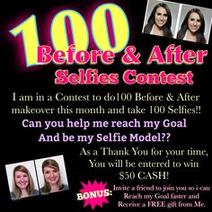 Lets Go Ladies!!! Who will one of the 100 Ladies to Help Me reach My Goal??? You have Nothing to Lose!! Its not everyday u get a Free Makeover & have the chance to win $50 CONTACT ME ASAP!! If you live in the NYC area, email me mirandarice@marykay.com