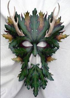 Horned Oak Green Man Mask