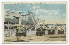 Everybody Rides in the Whip at Midland Beach, Staten Island,  N.Y.  [people in the amusement ride, roller coaster in near background.]