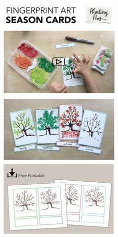 Check out how my 3 year old made his own cards to learn about Seasons. Super easy and it turned out beautifully -- a keepsake! Check out how my 3 year old made his own cards to learn about Seasons. Super easy and it turned out beautifully -- a keepsake! 3 Year Old Activities, Babysitting Activities, Seasons Activities, Learning Activities, Preschool Seasons, Fingerprint Art, Tree Study, Finger Art, Ecole Art