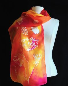 Hand painted silk scarf delicate Queen Anne's by FantasticPheasant, $45.00