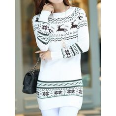Stylish Round Neck Deer Jacquard Pattern Long Sleeve Women's Christmas Sweater