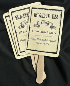 """An elegant take on the hand fan these Adult Birthday Favors will provide guests with a welcome breeze for those sunny warm days. Absolutely perfect for a little added fun to the party. What a great keepsake for your guests! Shown here for an 80th birthday favor, these can be made for any birthday. Birthday Party Fans come FULLY ASSEMBLED and the price includes personalization. Personalized hand fans measure approximately 5"""" wide by 11 1/2"""" high, two sided, printing on one side only. Wood..."""