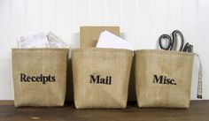 personalized burlap baskets - mail - receipts - misc - embroidered - customized - organize - organization