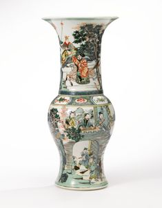 A fine famille-verte 'Romance of the Western Chamber' phoenix-tail vase, Qing Dynasty, Kangxi Period - Alain. Chinese China, Chinese Art, Antique Items, Antique Vases, Oriental Furniture, Chinese Ceramics, Ancient China, Qing Dynasty, Chinese Antiques