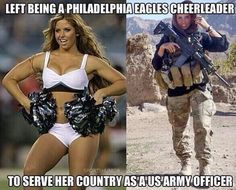 As a Philadelphia Eagles cheerleader, Rachel Washburn toted pom-poms. As an Army intelligence officer with a special ops combat unit in Afghanistan, she. Philadelphia Eagles Cheerleaders, Nfl Cheerleaders, Cheerleading, Cheerleader Images, Military Humor, Military Women, Military Salute, Military Box, Military Soldier