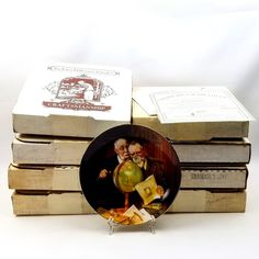 Complete Set 8 Collector Plates Lot Vintage Norman Rockwell Golden Moments Picture Plaque Series Bradford Bradex Original Boxes Exchange  #Knowles