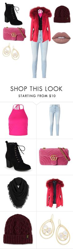 """Baby its cold out side"" by emmanuellajean ❤ liked on Polyvore featuring Boohoo, Frame, Journee Collection, Gucci, White + Warren, Blonde No.8, Dr. Martens and Ippolita"