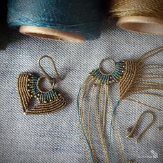 Set of macrame earrings and pendant handcrafted leather cord necklace teal olive green Macrame Earrings Tutorial, Micro Macrame Tutorial, Macrame Necklace, Macrame Jewelry, Beaded Earrings, Boho Jewelry, Jewelry Crafts, Macrame Knots, Bracelet Tutorial