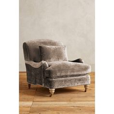 Anthropologie Slub Velvet Glenlee Chair, Wilcox ($1,078) ❤ liked on Polyvore featuring home, furniture, chairs, accent chairs, taupe, hand made furniture, handmade furniture, velvet furniture, anthropologie and velvet accent chair