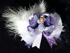 Princess Sofia Hair Bow W/Feather